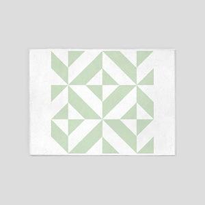 Sage Green Geometric Cube Pattern 5'x7'Area Rug