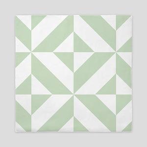 Sage Green Geometric Cube Pattern Queen Duvet