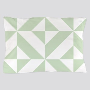 Sage Green Geometric Cube Pattern Pillow Case