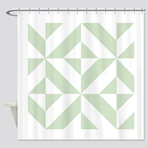 Sage Green Geometric Cube Pattern Shower Curtain