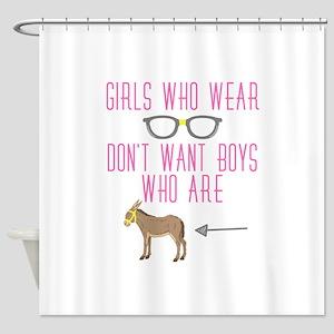 Funny Girl Nerd Humor Glasses Shower Curtain