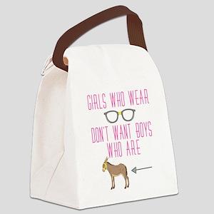 Funny Girl Nerd Humor Glasses Canvas Lunch Bag