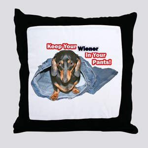 Keep Your Wiener Dog Throw Pillow