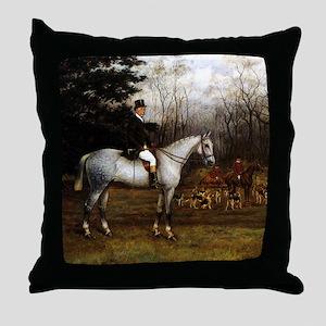 Gentleman on Grey Hunter Throw Pillow