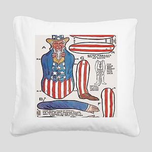 Uncle Sam Paper Doll Square Canvas Pillow