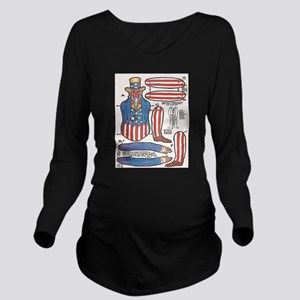 Uncle Sam Paper Doll Long Sleeve Maternity T-Shirt