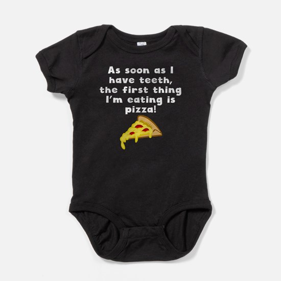 The First Thing Im Eating Is Pizza Baby Bodysuit