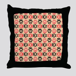 Whimsical Cute Paws Pattern Throw Pillow