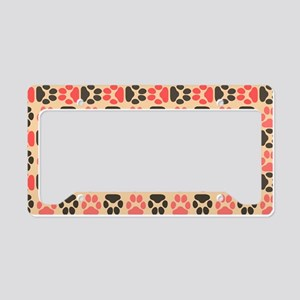 Whimsical Cute Paws Pattern License Plate Holder
