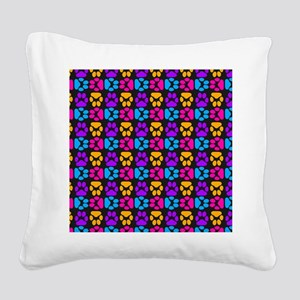 Whimsical Cute Paws Pattern Square Canvas Pillow