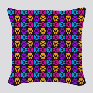 Whimsical Cute Paws Pattern Woven Throw Pillow
