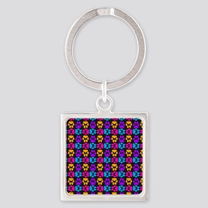 Whimsical Cute Paws Pattern Square Keychain