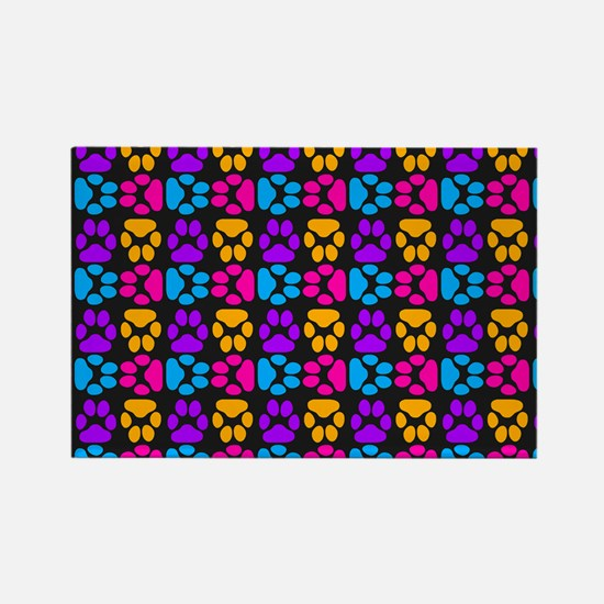 Whimsical Cute Paws Pattern Rectangle Magnet