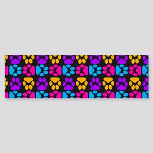 Whimsical Cute Paws Pattern Sticker (Bumper)