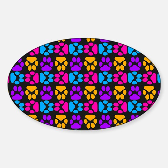 Whimsical Cute Paws Pattern Sticker (Oval)