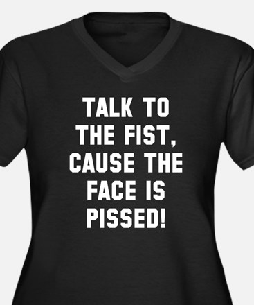 Talk to the Women's Plus Size V-Neck Dark T-Shirt