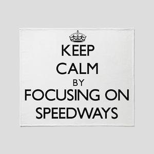 Keep Calm by focusing on Speedways Throw Blanket
