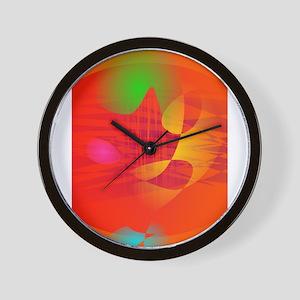 Orange Waves Wall Clock