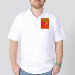 Orange Waves Golf Shirt
