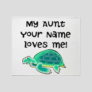 My Aunt Loves Me Turtle Throw Blanket