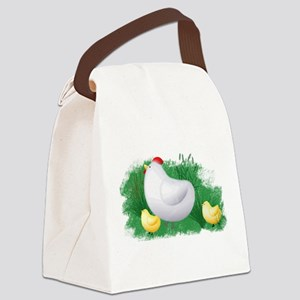Momma Hen and Chicks Canvas Lunch Bag
