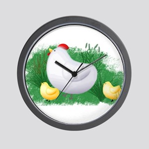 Momma Hen and Chicks Wall Clock