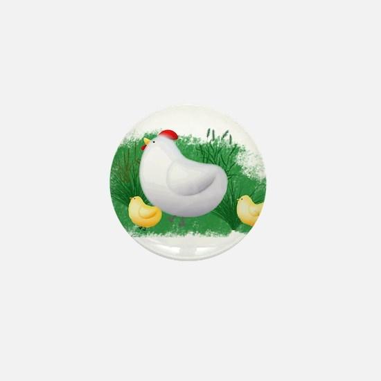 Momma Hen and Chicks Mini Button