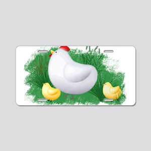 Momma Hen and Chicks Aluminum License Plate
