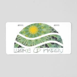 Wake Up Happy Aluminum License Plate
