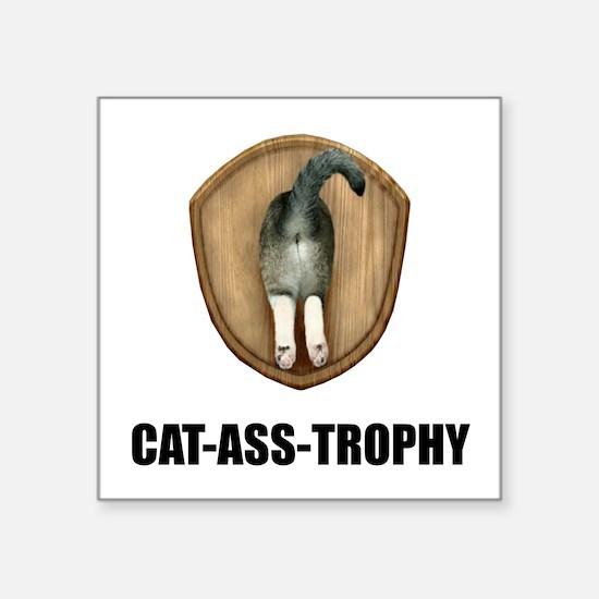 """Cute Cat butt Square Sticker 3"""" x 3"""""""