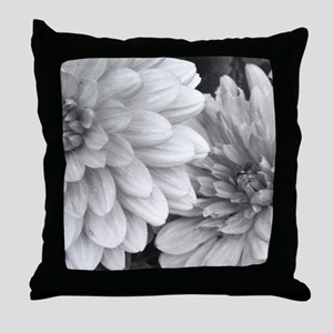 Black and White Garden Flowers Throw Pillow