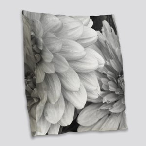 Black and White Garden Flowers Burlap Throw Pillow