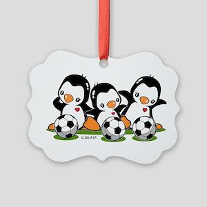 Soccer Penguins Picture Ornament