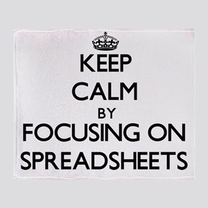 Keep Calm by focusing on Spreadsheet Throw Blanket