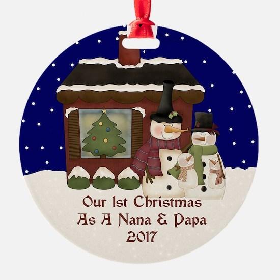 1St Christmas As A Nana And Papa 2017 Ornament