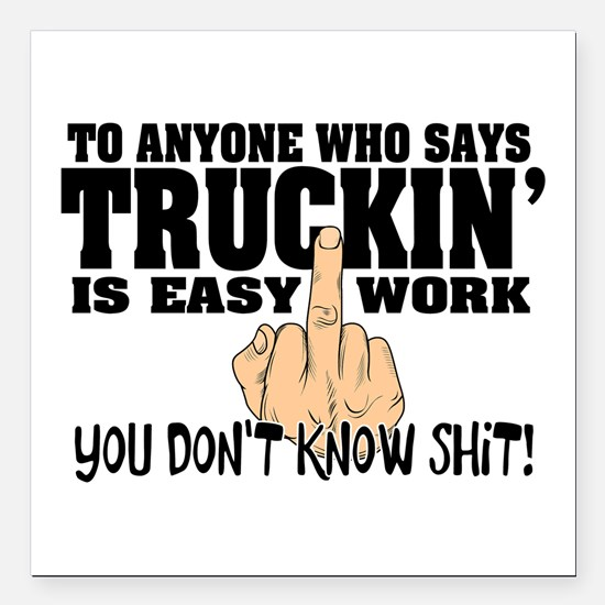 """Trucking Middle Finger Square Car Magnet 3"""" x 3"""""""