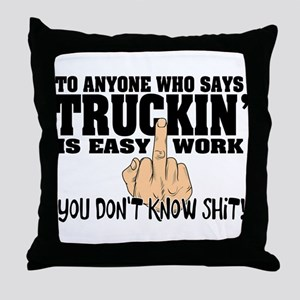Trucking Middle Finger Throw Pillow