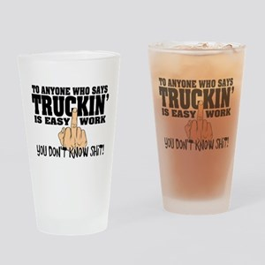 Trucking Middle Finger Drinking Glass