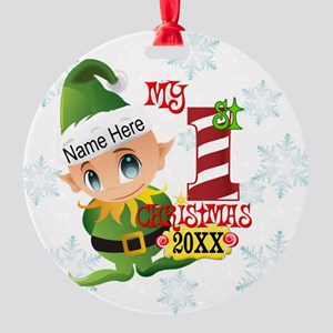 Baby Elf 1st Christmas Round Ornament