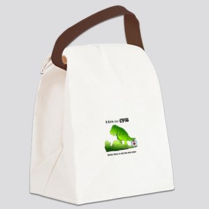 t-rex hates cpr Canvas Lunch Bag