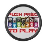 Push PAWS To Play Large Wall Clock