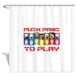 Push PAWS To Play Shower Curtain