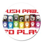 Push PAWS To Play Round Car Magnet