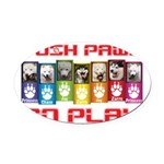 Push PAWS To Play Oval Car Magnet