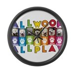 All WOOF All PLAY Large Wall Clock