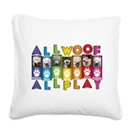 All WOOF All PLAY Square Canvas Pillow