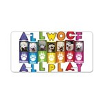 All WOOF All PLAY Aluminum License Plate