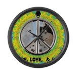 Peace Puppies 3.10.2014 Large Wall Clock