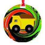 Dump Truck on Abstract Ornament