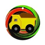 Dump Truck on Abstract Ornament (Round)